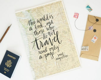 Travel Quote Screen Print on Vintage Atlas Page - Saint Augustine