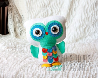 CUSTOM Rainbow Felt Owl, Stuffed Owl Doll