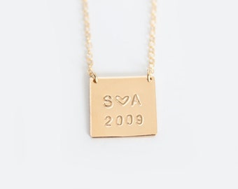 Hand Stamped Necklace - 14k GOLD Filled Square Tag - You & Me