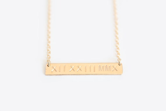 Roman Numeral Date Necklace Hand Stamped Nameplate Necklace