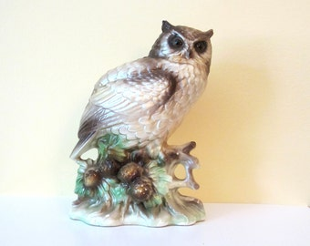 Vintage Norleans Owl Figurine with pine cones - Owl Statue - Japan - neutral colors - owl collectible - pearlescent - brown tan green