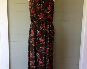 Vintage 1970s Maxi Sundress with Tiered Bodice / Spaghetti Straps Brown and Pink Floral / Hippie Sundress / Union Tag