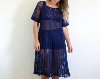 70s Navy Crochet Sheer Midi Dress // sz S