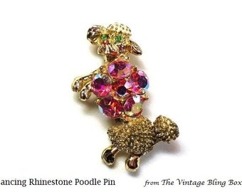 Pink AB Crystal Dancing Poodle Pin with Green Crystal Eyes & Rhinestone Textured Gold Body - Vintage 50's Figural Dog Brooch Costume Jewelry
