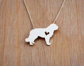 St Bernard necklace, sterling silver hand cut pendant with heart, tiny dog breed jewelry