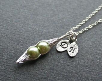 Pea Pod Necklace, Silver Pea Pod Necklace, Two Peas in Pod, Personalized Initial Peapod, Two Initials, Monogram, 2 Pea Pods, Sterling Silver