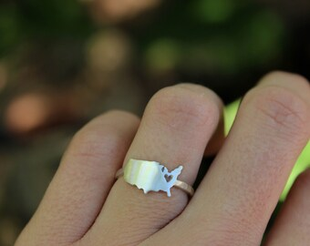 USA Love Ring - Personalized Country, State, or Shape