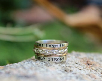 Army STRONG Love Stacking Rings - Personalized for you