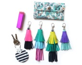 Leather Tassel Key Chain, Turquoise and Purple Tassel Fringe, Layered Key Chain, Bag Purse Charm, Leather Key Fob, Leather Accessories