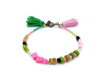 Brass Geometric Beaded Friendship Bracelet, Green and Pink Leather Tassel Bracelet, Marble Minimal Bracelet, Stacking Layering Bracelet