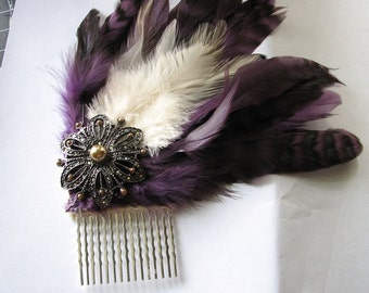 Pearl hairpiece | purple hair comb | feather fascinator