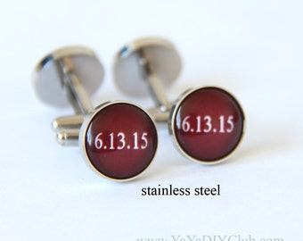 Personalized Cufflinks Burgandy Wedding Cuff Links, Custom Cuff links Custom Color