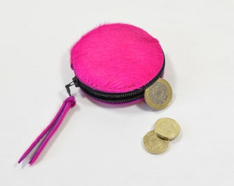 Handmade Pink Hair On Hide Leather Zip Coin Purse.