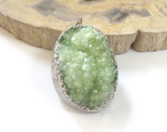 Druzy Geode Pendant - Green Crystal Quartz - Dipped Edged in Silver - Natural Rough Surface - Gemstone Pendant - Select With/Without Chain