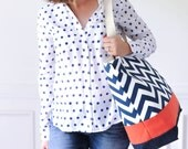 EXTRA Large Beach Bag // Tote in Navy Chevron with Orange, Monogram Available