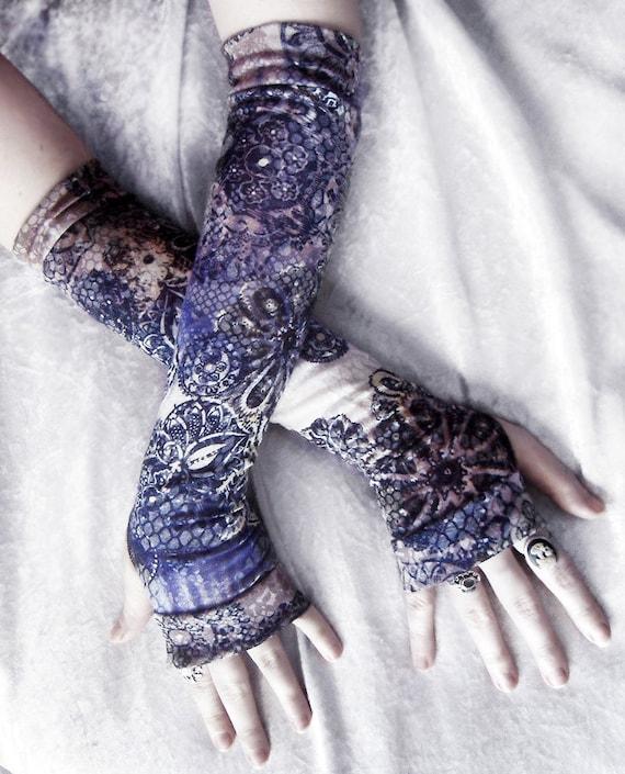 Mirage Arm Warmers | Navy Blue White Pale Yellow Black Tan Brown Floral Mandalas | Gothic Tribal Namaste Steampunk Noir Mehndi Gypsy Yoga