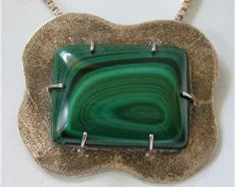 Navajo Modernist Sterling silver Pendant Necklace Green Malachite Signed BB Bernice Bonney Vintage Sterling