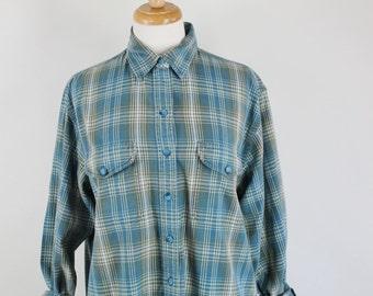 SALE - Vintage 90s Womens Light Blue Plaid Cotton Grunge Button Down Shirt