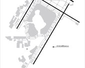 John F. Kennedy International Airpor t- JFK - New York City - Airport Map Gallery Wrap Canvas 10x14