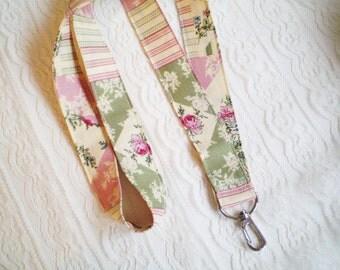 Cottage Chic Rose Lanyard, Rose Fabric Lanyard, Rose ID Badge Holder, Rose Key Lanyard