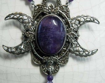 ARTEMIS - Amethyst Triple Moon Goddess Necklace by Crow Haven Road