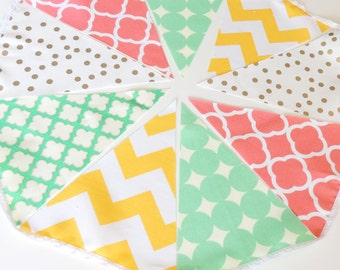 Fabric Banner Bunting Metallic Gold, Coral, Yellow, Jade, Mint Pennant Flags, Wedding Party Banner, Photo Prop, Baby Nursery Decor, Birthday