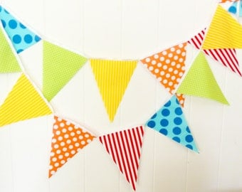 Circus Bunting, Banner, Fabric Pennant Flag Garland, Birthday Party, Photo Prop, Orange, Red, Lime, Yellow, Blue, Polka Dot, Clown Stripe
