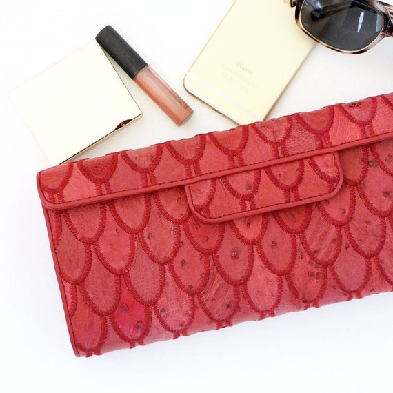 SALE - Leather Clutch / Small Handbag / Patchwork Leather Bag / Purse Clutch - Ostrich Leather / Red