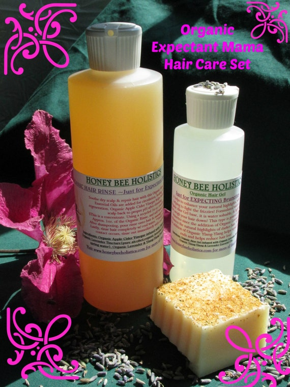 Organic Just for Expectant Mama's Hair Care Set - Organic Shampoo/Organic Hair Rinse/Organic Hair gel//Organic Hair Care
