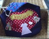 Blue denim clothes pin bag,peg bag,appliqued bag,laundry accessory,red bag,laundry room aid,daisy flower clothes bag,HANDMADE BY FRALINE
