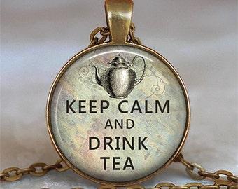 Keep Calm & Drink Tea necklace, Keep Calm necklace, Keep Calm pendant, tea lover's necklace tea lover's jewelry keychain key fob