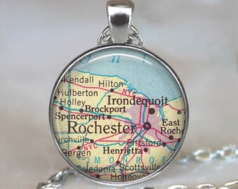 Rochester map pendant, Rochester map necklace, Rochester pendant, Rochester New York Irondequoit NY key chain
