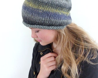 Grey and Yellow knitted hat , Hand knitted slouch beanie , Winter hat  wool beanie