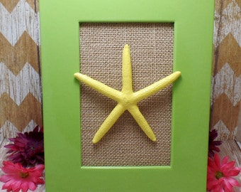 Yellow Framed Starfish In Green Frame & Burlap Background - Table Top Frame