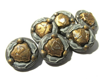 Victorian Buttons Grey Enamel Brass Antique Buttons Victorian Six (6) Buttons Edwardian Floral Buttons Jewelry Sewing Supplies (A61)