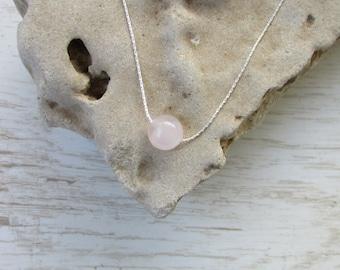 Rose Quartz Necklace, Love Bead, Tiny Minimalist Necklace, Rose Quartz Sterling Silver Necklace, Everyday Jewelry, Simple Charm Necklace