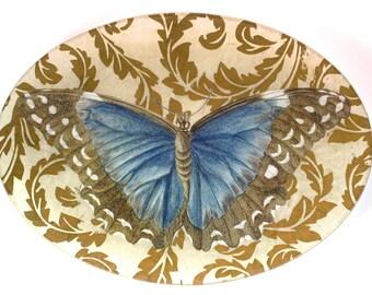 "Victoria Fischetti Handmade Decoupage - 9x12"" Blue Butterfly Tray"