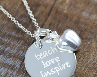 Personalized Teacher Gifts, Jewelry Necklaces Pendants for Teachers 925 Sterling Silver