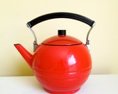 Vintage Bright Red Enamel Tea Kettle - Black Plastic Handle - Art Deco Style, Round Shape