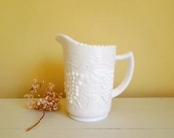 White Milk Glass Small Pitcher Jug - Imperial Glass Vintage Grape Scalloped Edge - Wedding Decor