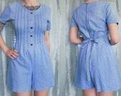 90s Denim Romper, Fitted Jean Skort Dress by Bentley, Size 6 (Small), Button, Tie & Zip Detail, Grunge, %100 Cotton