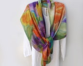 Large Wide Scarf /Shawl Wrap Hand - Painted Impressionist Floral, Special Ocassion Shawl