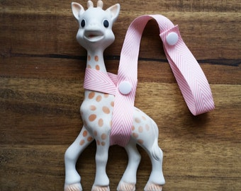 Sophie Saver/Toy Saver Leash- pink and white Chevron ribbon, different colour snaps available, herringbone, baby girl