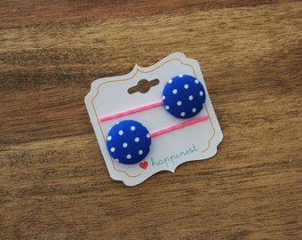 Pink and blue bobby pins, fabric button hair pins