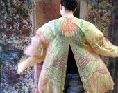 Yellow Leaves Silk Kimono,  One-of-a-Kind Kimono, Silk Kimono Jacket, Boho Resort Kimono, Bridal Kimono, Plus Kimono, Boho Beaded Kimono