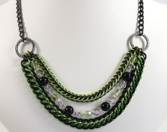 Lime Green and Black Statement Necklace, Chain Mail Necklace, Chainmaille Jewelry, Bib Necklace, Persian Jewelry