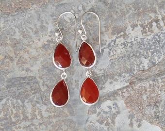 Carnelian Earrings, Gemstone Earrings, Dark Orange Earrings, Natural Stone Earrings, Sterling Silver Earrings, Dangly Earrings, Fall Earring