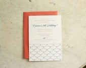 engagement party, birthday party or wedding shower invitation - scallops (coral and navy)