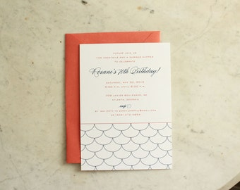 engagement party, birthday party, boy baby shower or wedding shower invitation - scallops (coral and navy)