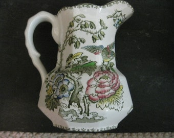 Vintage Crown Staffordshire Pitcher with Birds and Flowers Roses and Ornate Edging
